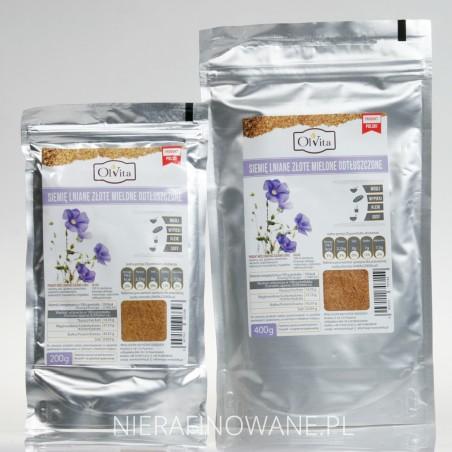 Siemię Lniane Złociste Odtłuszczone Mielone - Ol'Vita 200 i 400 g