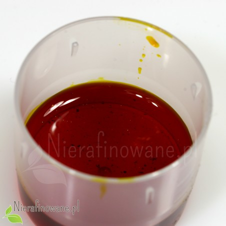 Olej z rokitnika - powiększenie, drobinki karotenu