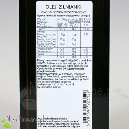 Olej z lnianki - wartości odżywcze