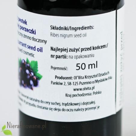 Olej z pestek Czarnej Porzeczki - kosmetyczny, zimnotłoczony Ol'Vita 50 ml