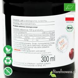 Sok z Żurawiny, ekologiczny, tłoczony - Biofood - etykieta