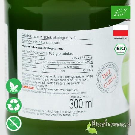 Sok Jabłkowy, ekologiczny, tłoczony - Biofood - etykieta