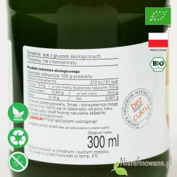 Sok Gruszkowy, ekologiczny, tłoczony - Biofood - etykieta
