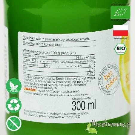 Sok Pomarańczowy, ekologiczny, tłoczony - Biofood - etykieta