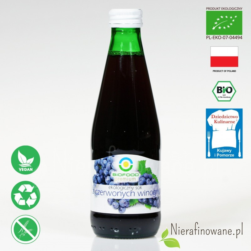 Sok z Winogron Czerwonych, ekologiczny, tłoczony - Biofood