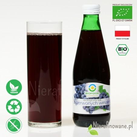 Sok z Winogron Czerwonych, ekologiczny, tłoczony - Biofood - propozycja podania