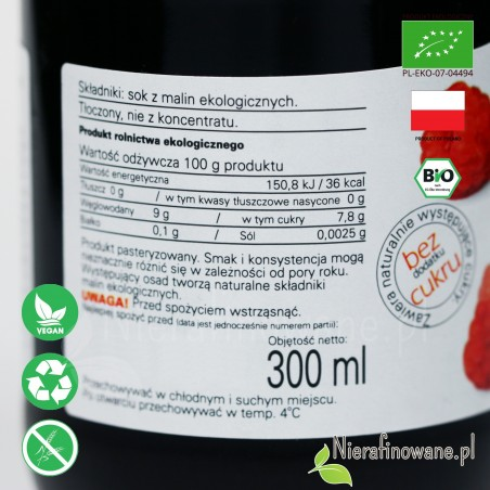 Sok Malinowy, ekologiczny, tłoczony - Biofood - etykieta, skład