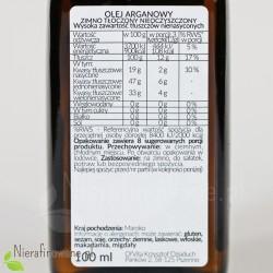 Olej arganowy zimnotłoczony 100 ml - etykieta, skład
