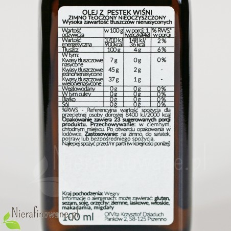 Olej z Pestek Wiśni, zimnotłoczony, nieoczyszczony, Ol'Vita 100 ml - etykieta, skład
