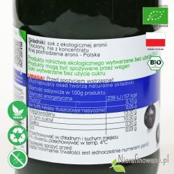 Sok z Aronii, ekologiczny, NFC, Biofood - etykieta