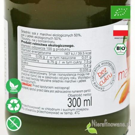 Sok Marchwiowo-Jabłkowy, ekologiczny, NFC, Biofood - etykieta