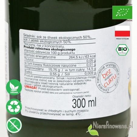 Sok Śliwkowo-Jabłkowy, ekologiczny, NFC, Biofood - etykieta
