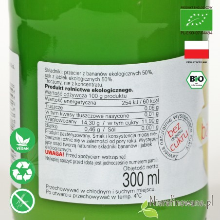 Sok Bananowo-Jabłkowy, ekologiczny, NFC, Biofood - etykieta