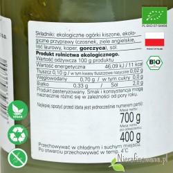 Ogórki Kiszone, ekologiczne, Biofood - wartości odżywcze