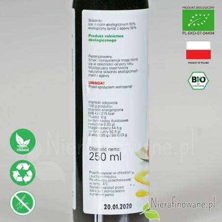Syrop Malina / Agawa, ekologiczny, Biofood - wartości odżywcze