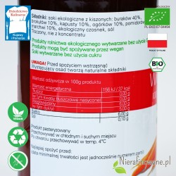 Sok Wielowarzywny Kiszony, ekologiczny, BioFood - 500 ml