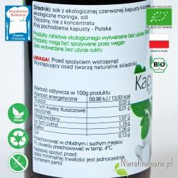 Sok z Kapusty Czerwonej - kiszonej i Moringi, ekologiczny, Biofood