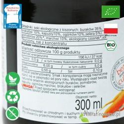 Sok Wielowarzywny Kiszony, ekologiczny, BioFood - etykieta, wartości odżywcze