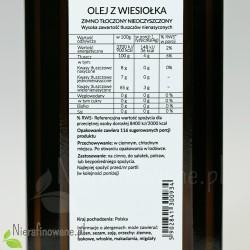 Olej z Wiesiołka zimnotłoczony, nieoczyszczony Ol'Vita - etykieta, wartości odżywcze