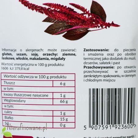 Amarantus - ziarno - Ol'Vita - etykieta, wartości odżywcze