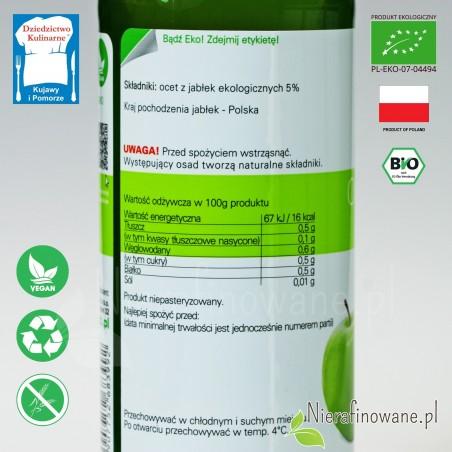 Ocet Jabłkowy - ekologiczny, nieklarowany, BioFood - wartości odżywcze