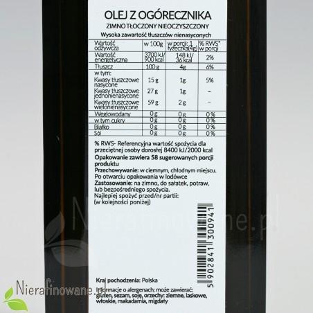 Olej z nasion ogórecznika spożywczy zimnotłoczony, nieoczyszczony - Ol'Vita - wartości odżywcze
