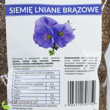 Siemię Lniane Brązowe, niemielone - całe ziarna - Ol'Vita - wartości odżywcze
