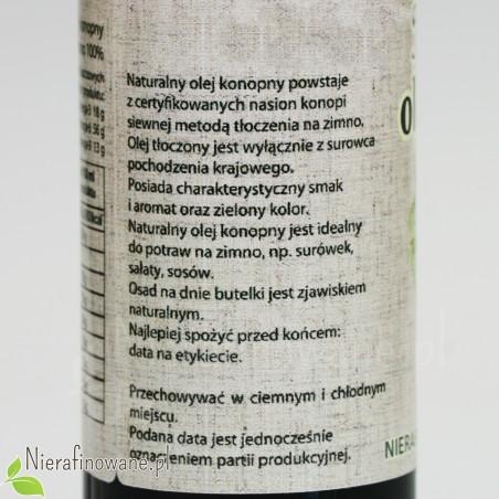 Olej Konopny, zimnotłoczony, Oleje Świecie 250 ml - opis