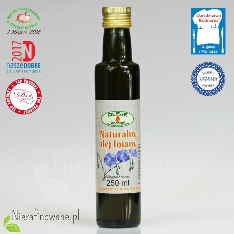 Olej lniany zimnotłoczony Oleje Świecie - 250 ml