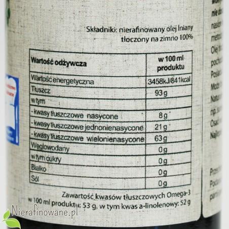 Olej lniany zimnotłoczony Oleje Świecie - wartości odżywcze
