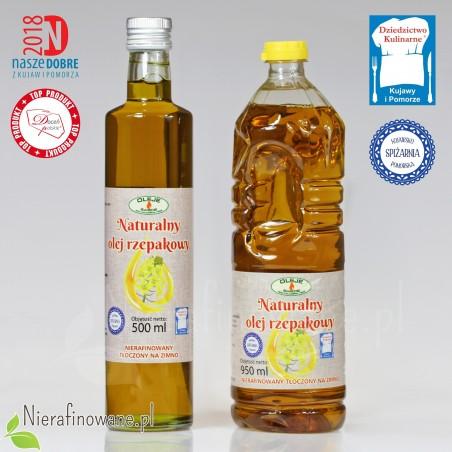 Olej rzepakowy zimnotłoczony Oleje Świecie 500 i 950 ml