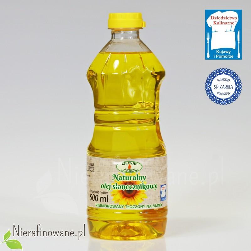 Olej słonecznikowy zimnotłoczony Oleje Świecie - 500 ml, butelka plastikowa