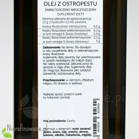 Olej z ostropestu - suplement diety Ol'Vita - etykieta, zalecenia