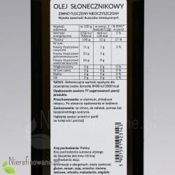 Olej słonecznikowy zimnotłoczony nieoczyszczony Ol'Vita - wartości odżywcze