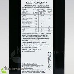Olej konopny zimnotłoczony nieoczyszczony Ol'Vita - wartości odżywcze, właściwości
