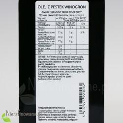 Olej z pestek winogron, zimnotłoczony, nierafinowany Ol'Vita - wartości odżywcze, właściwości