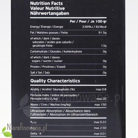 Grecka oliwa z oliwek z Peloponezu Extra Virgin - wartości odżywcze, parametry
