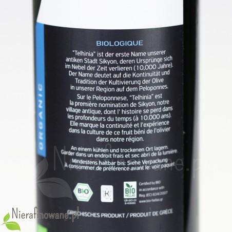 Grecka oliwa z oliwek z Peloponezu - BIO, ekologiczna, organic - 500 ml - opis