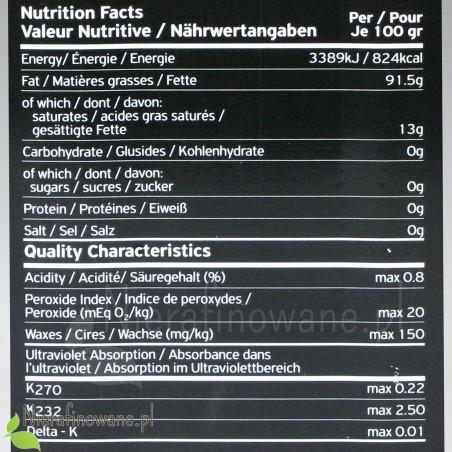 Grecka oliwa z oliwek z Peloponezu - BIO, ekologiczna, organic - wartości odżywcze