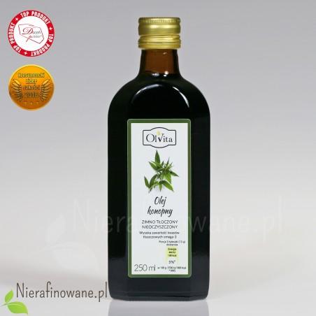 Olej konopny zimnotłoczony nieoczyszczony Ol'Vita - 250 ml