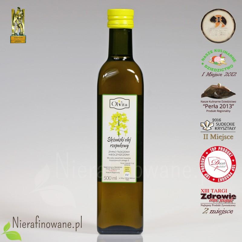 Olej rzepakowy zimnotłoczony nieoczyszczony Ol'Vita - 500 ml