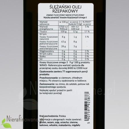 Olej rzepakowy zimnotłoczony nieoczyszczony Ol'Vita - wartości odżywcze