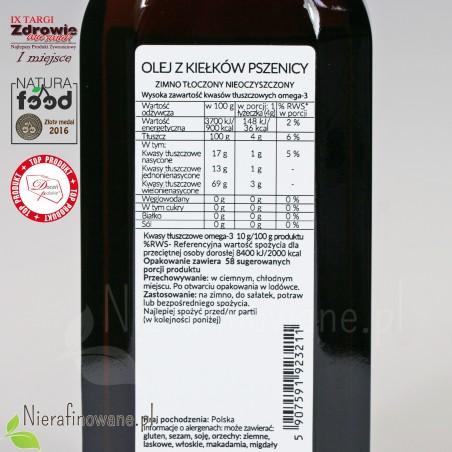 Olej z Kiełków Pszenicy zimnotłoczony, nieoczyszczony Ol'Vita - etykieta, skład